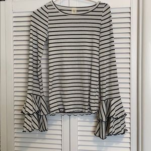 Free People Striped Bell Sleeve Top